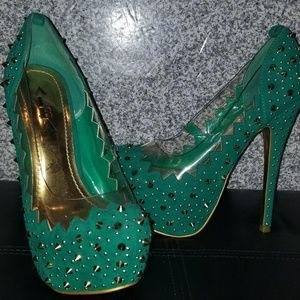 ALBA Green Gold Studded High Heel Women Shoes